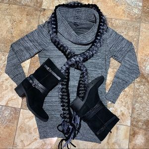 The Limited Long Gray Cowl Neck Sweater Sz L Tdc